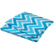 Bacati - MixNMatch Zigzag Crib/Toddler Bed Fitted Sheets 100% Cotton Percale, Turquoise, 2-Pack