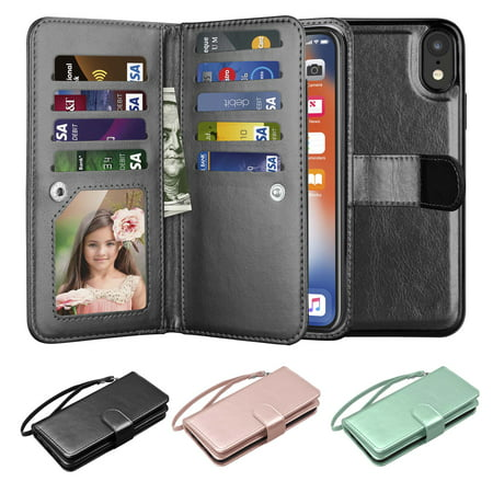 best service 474be 32c8e Wallet Cases For Apple iPhone Xs Max / XR / Xs / X / 10 / X Edition, Njjex  [Wrist Strap] PU Leather Wallet Flip Protective Case Credit Card Holder ...