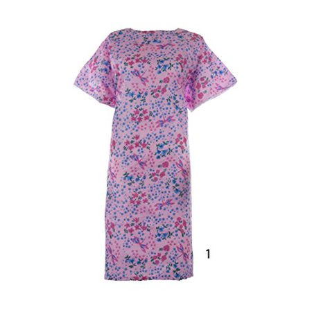 Women's Poly Cotton Backwrap Gown - (Small, Pink Flower)