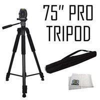 Professional 75-inch Tripod 3-way Panhead Tilt Motion with Built In Bubble Leveling for Sony NEX-5, A65, A77,A77ii, A99, A65, A35, A55, A57, A58, A33,A37, A380, NEX-5, Nex5tl, NEX-6, NEX-7, A230, A390
