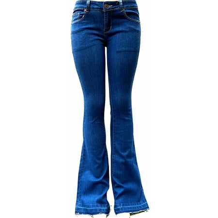 Jack David Women's Juniors 70s Trendy Sexy Flare Fitted Bell Bottom Denim - 70s Jean