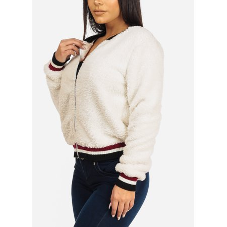 Rabbit Fur Bomber - Casual Fashion Womens Juniors Faux Fur Ivory Bomber Outwear Jacket 20750T