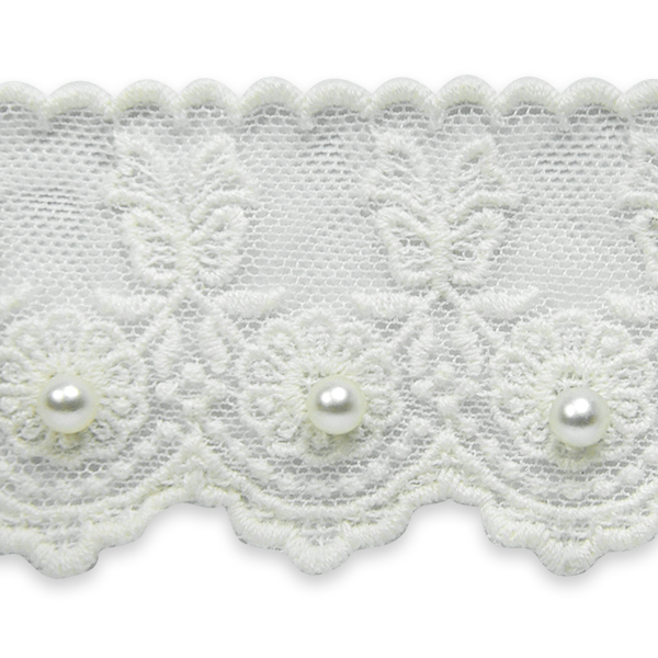 Expo Int'l 2 yards of Vintage Roses with Bow Bridal Lace Trim