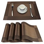 Placemats Set of 6 Stain Resistant PVC Placemat for Dining Table Woven Vinyl Heat-resistantS Table Mats Easy to Clean (Brown, 6 )
