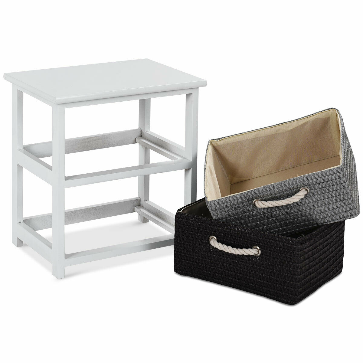 Gymax 2PC Wooden Nightstands 2 Weaving Baskets Bedside Table Storage Organizer Side Table - image 5 de 10