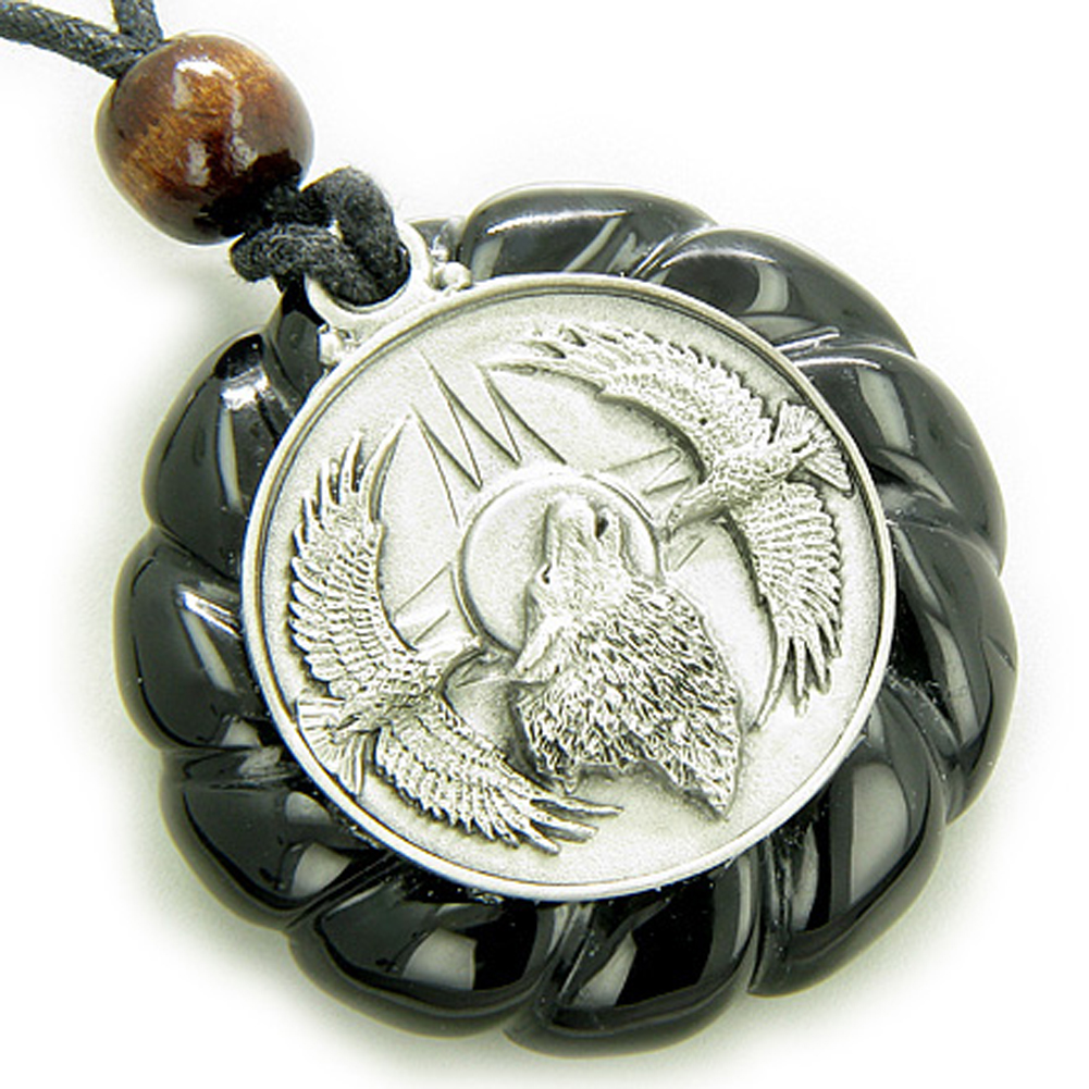 Amulet Howling Wolf Eagles Magic Circle Black Agate Penda...