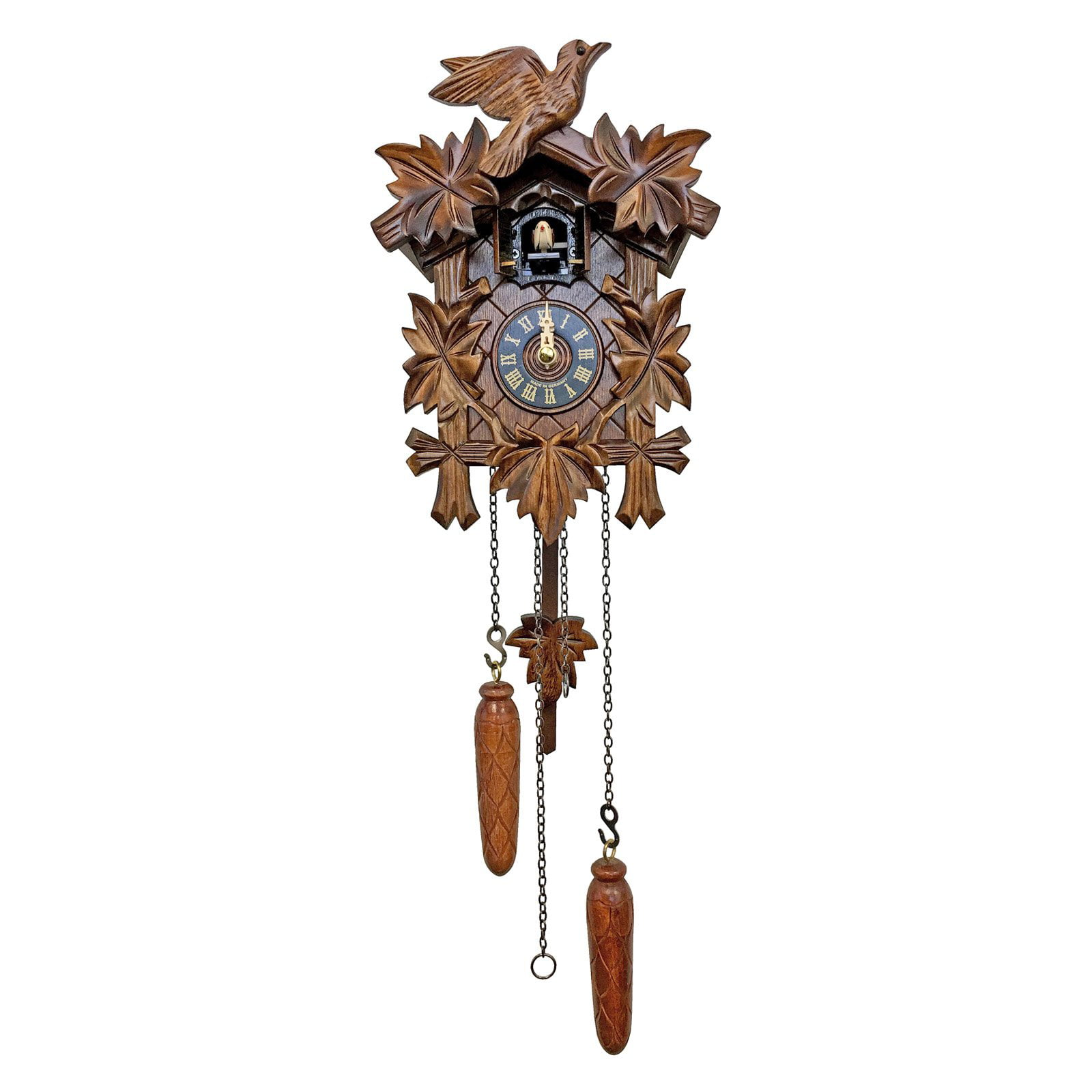 Alpine Style Carved Bird and Leaf Cuckoo Clock by Alexander Taron