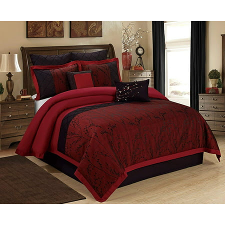 Unique Home Wisteria Comforter 7 Piece Bed in a Bag Ruffled Clearance Bedding Set Fade Resistant, Wrinkle Free, No Ironing Necessary, Super Soft, All Sizes- Queen, King, CalKing (Queen, Burgundy)
