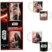 Star Wars 2 Mug Holiday Gift Set with Chocolate Fudge Cocoa Mix, 3 Piece