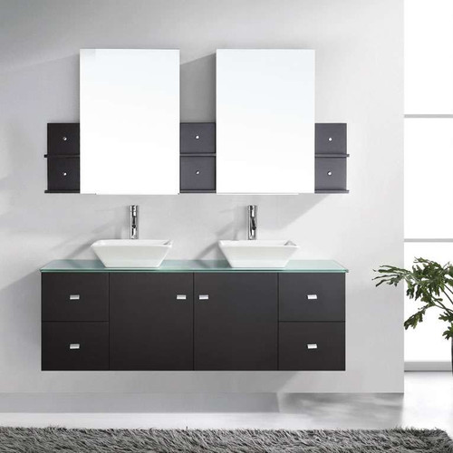 Virtu Ultra Modern 61'' Double Clarissa Bathroom Vanity Set with Mirror