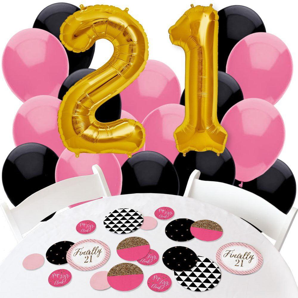 Finally 21 Girl - 21st Birthday - Confetti and Balloon Birthday Decorations - Combo Kit