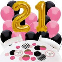 finally 21 girl - 21st birthday - confetti and balloon birthday decorations - combo kit