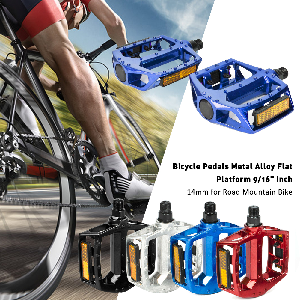 """1Pair 9//16/"""" Inch Bicycle Pedals Metal Alloy Flat Platform For Road-Mountain Bike"""