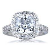 Sterling Silver Cushion-cut Cubic Zirconia Halo Engagement Ring Size 8