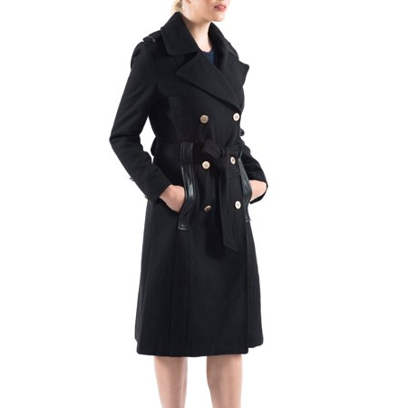 Alpine Swiss Womens Trench Coat Wool Double Breast Jacket Gold Buttons With Belt Wool Belt Tie Coat Jacket