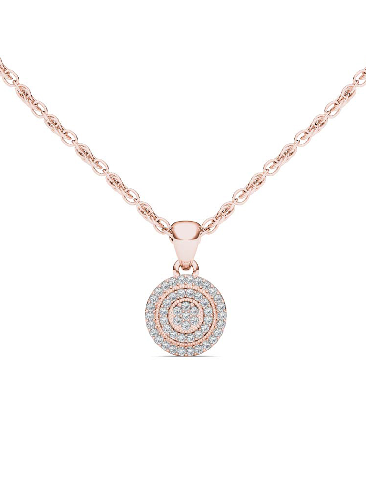 Imperial 1 8Ct TDW 10K Rose Gold Diamond Halo Necklace by Imperial Jewels