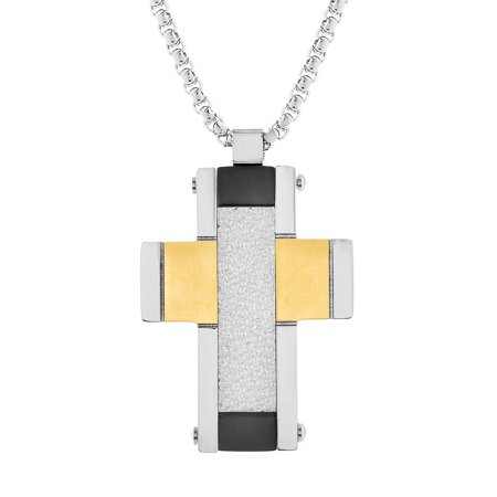 Reinforcements Tri-Tone Men's Hammered Textured Cross Pendant Box Chain Necklace in Stainless Steel