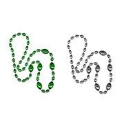 Jumbo Football Beads Green/ Silver 2 Piece