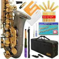 Lazarro Professional Royal Blue-Gold Keys Eb E Flat Alto Saxophone Sax with 11 Reeds, Case & Many Extras - 360-BU