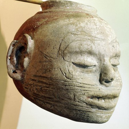 Pottery effigy-head vessel with the forked or winged eye motif, Mississippian, Arkansas, c1000 AD Print Wall Art By Werner