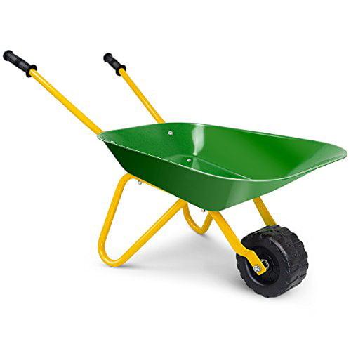 Costzon Kids Metal Wheelbarrow Yard Rover Steel Tray Metal Construction Toys Kart Tote Dirt Leaves Tools In Garden For Toddlers Green Walmart Canada