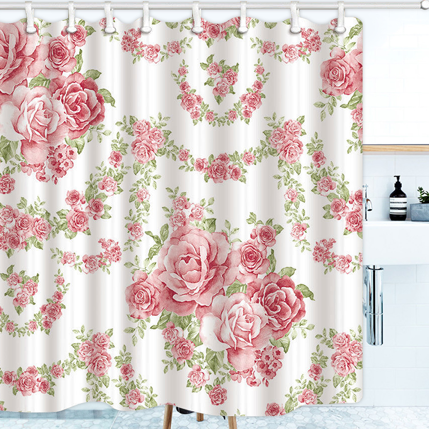 3D Rose Printed Bathroom Waterproof Fabric Bath Shower Curtain with 12