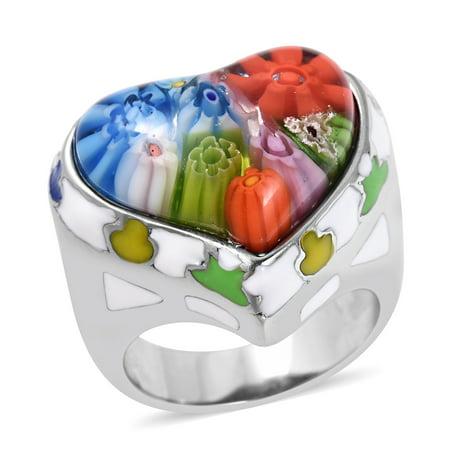 Cocktail Ring Stainless Steel Heart Multi Color Murano Millefiori Glass Enameled Size 8 (Millefiori Multi Color Heart)