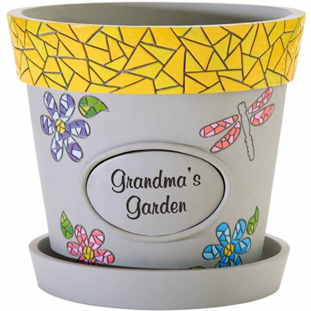 Personalized Mosaic Flower Pot, Dragonfly Yellow Rim, Message - Personalized Flower Pot
