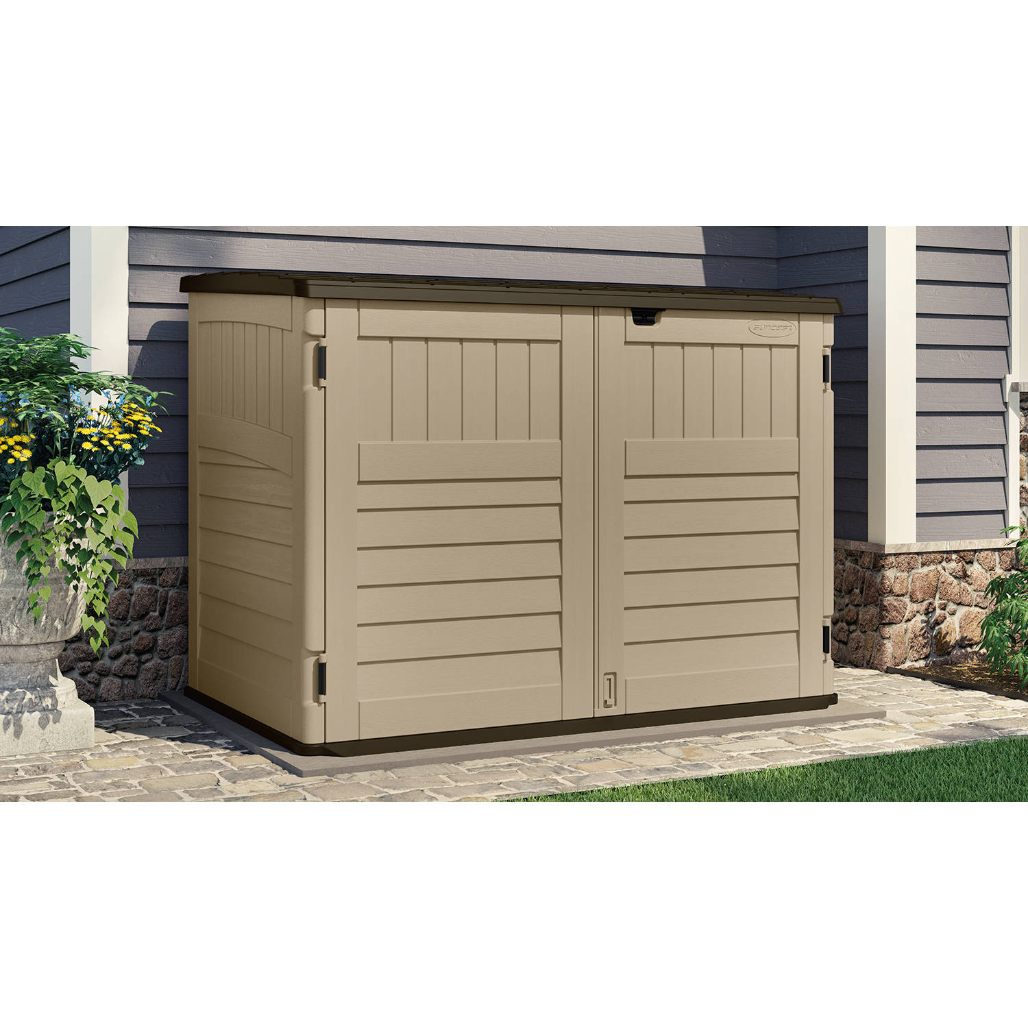 Superior Suncast Toter Trash Can Shed, Sand