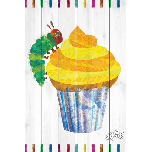 Eric Carle Caterpillar Cupcake Art Print on White Pine Wood
