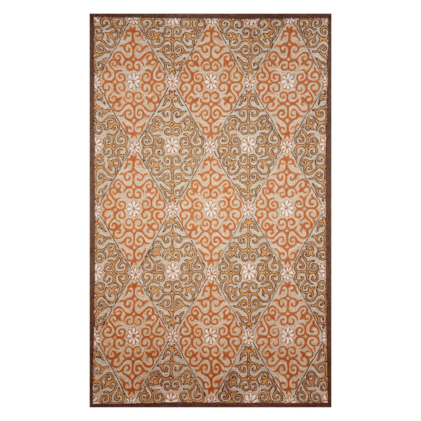 "Ravella Lakai Diamond Rug-Color:Orange/Coral,Design:Diamond,Size:36""Lx24""Wx0.5""H"