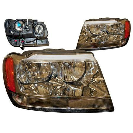 - 1999-2004 Jeep Grand Cherokee Chrome Performance Lens Halogen Headlights Set CH2502120 and CH2503120