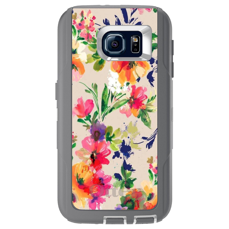 DistinctInk™ Custom Grey OtterBox Defender Series Case for Samsung Galaxy S6 - Pink Purple Floral Flowers