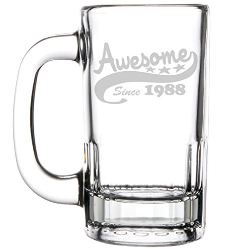 12oz Beer Mug Stein Glass Funny 30th Birthday Awesome Since 1988 by