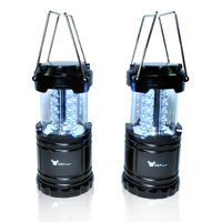 2 Pack of Water Resistant Portable Ultra Bright LED Lantern Flashlight for Hiking, Camping, Blackouts, Black