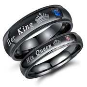 """Couple's Matching Promise Ring """"His Queen"""" or """"Her King"""", His or Her Matching Wedding Band in Stainless Steel, for Men or Women, Milgrain Edge, Comfort Fit"""