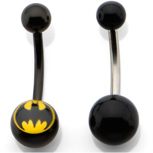 WB-DC Stainless Steel 14G Batman Navel Rings, 2 Pack