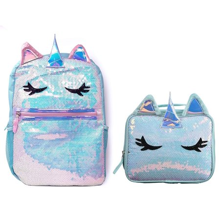 Unicorn Sequin Backpack with Matching Lunch Bag Back to School Bundle for Girls (Blue)](Girls Back To School)