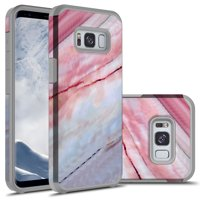 Galaxy S8 Plus Case, KAESAR Hybrid Dual Layer Shockproof Hard Cover Graphic Fashion Cute Colorful Silicone Skin Case for Samsung Galaxy S8 Plus - Pink Marble