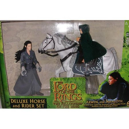 ToyBiz Year 2001 The Lord of the Rings Movie Series The Fellowship of the Ring Deluxe Horse and Rider Set - Arwen with Light-Up Evenstar and Wounded Frodo on Horse, Asfaloth with Galloping Action - Arwen Lord Of The Ring