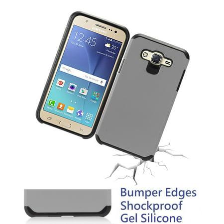 "for 5.5"" Samsung Galaxy J7 2016 / 2015 Case Phone Case Shock Proof Edges Hybrid Armor Layers Hard Back Bumper Slim Cover Gray - Walmart.com"