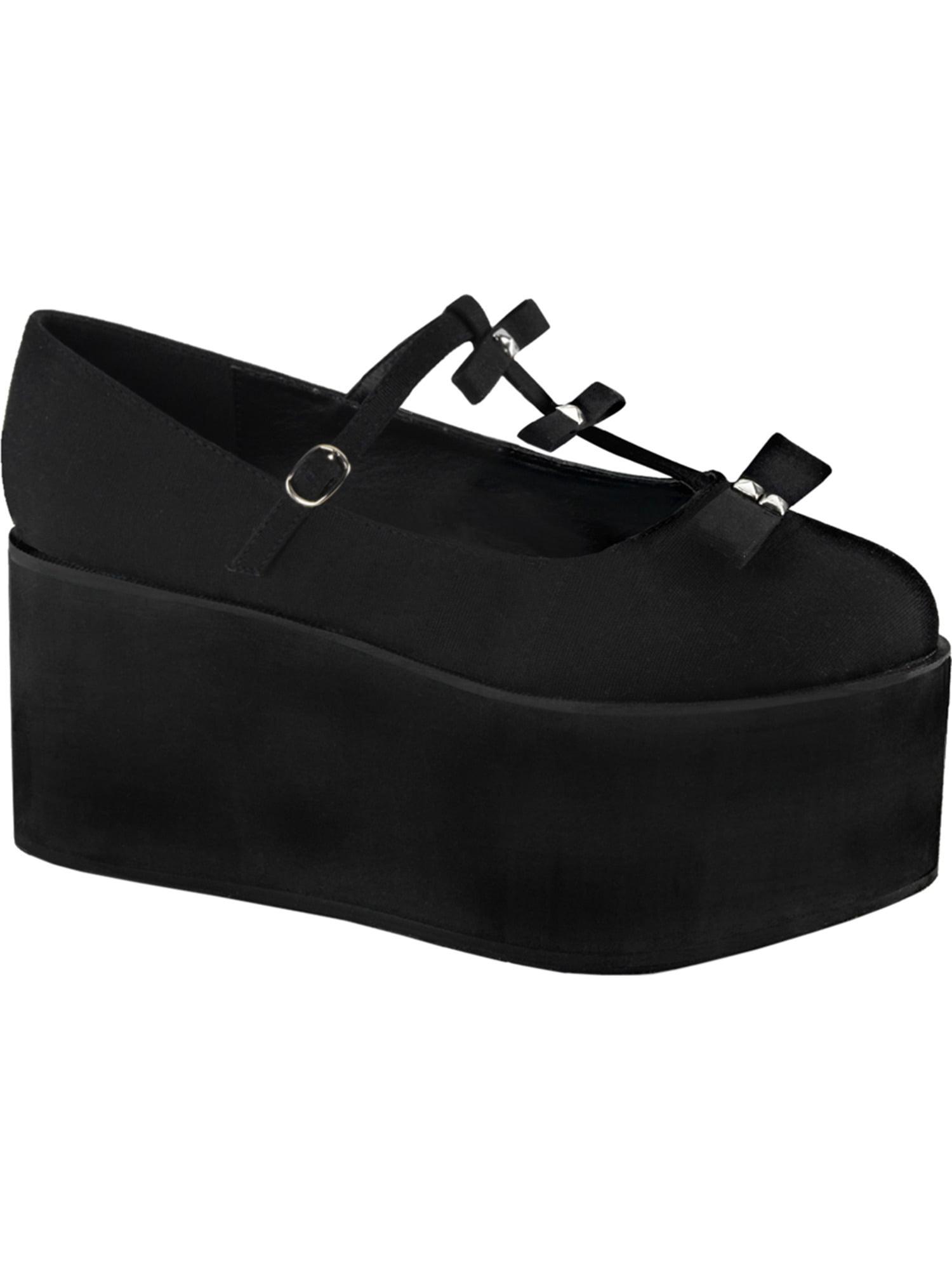 Womens Black Canvas Shoes Bows Studs T Strap Platform Shoes 3 1/4 Inch Platform