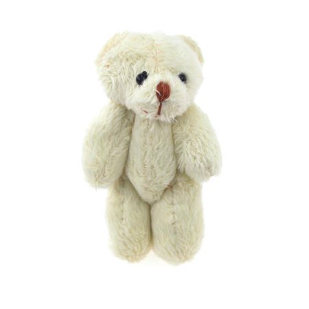 Jointed Mohair Bear (Miniature Jointed Teddy Bear, 3-inch, 3-Piece, Ivory)