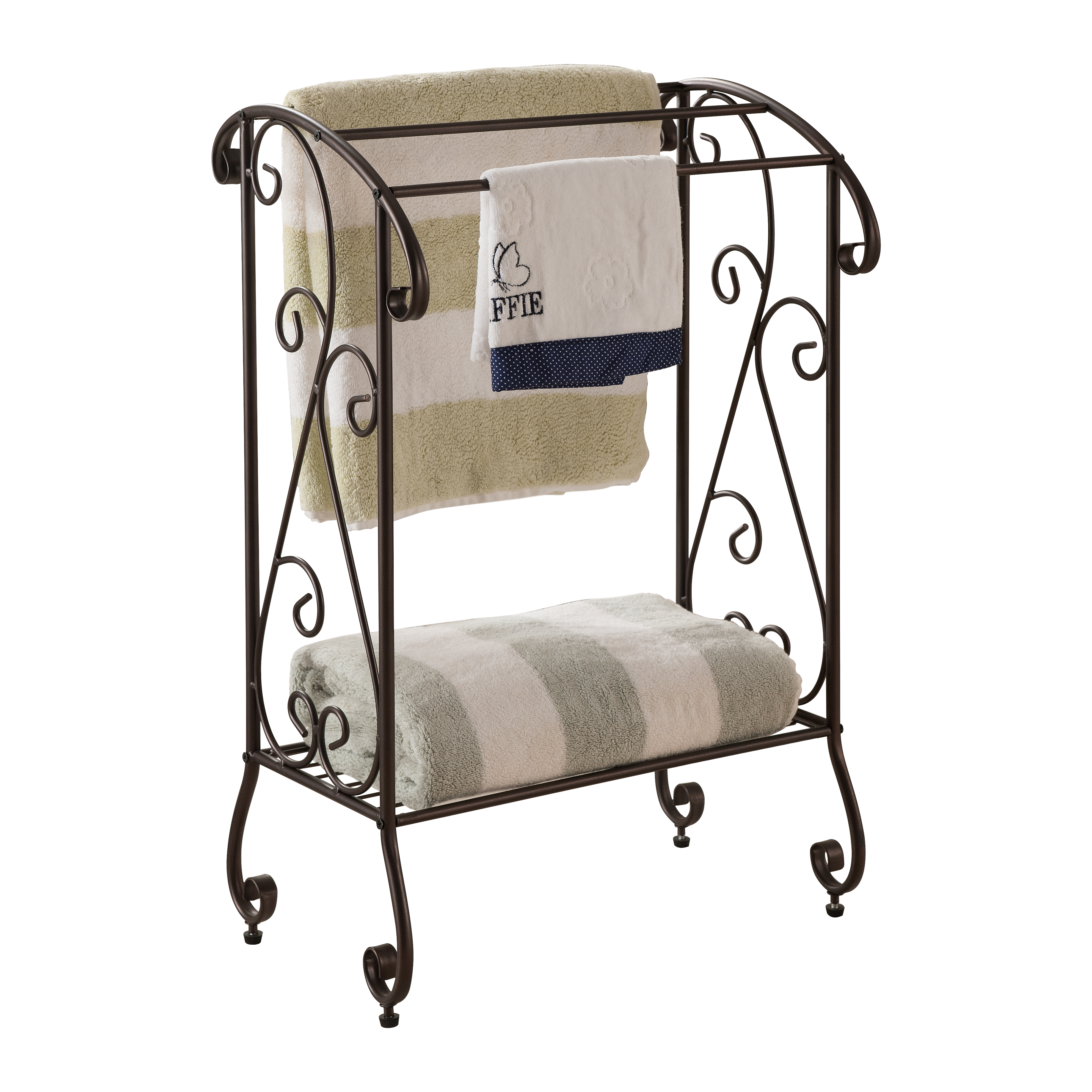 Pilaster Designs Metal Free Standing Towel Rack Stand With Shelf