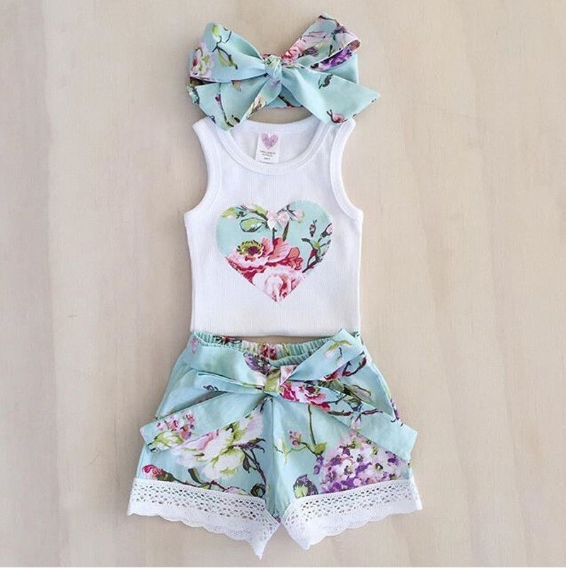 3Pcs Toddler Baby Girl Clothes Tops Floral Vest +Shorts Pants Outfits Set 0-3Y