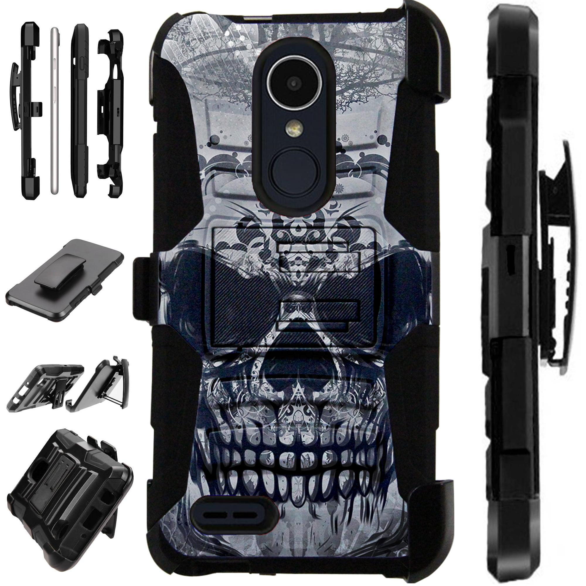 For LG Rebel 4 | LG Rebel 3 Case Armor Hybrid Silicone Cover Stand LuxGuard Holster (Gray Evil Skull)