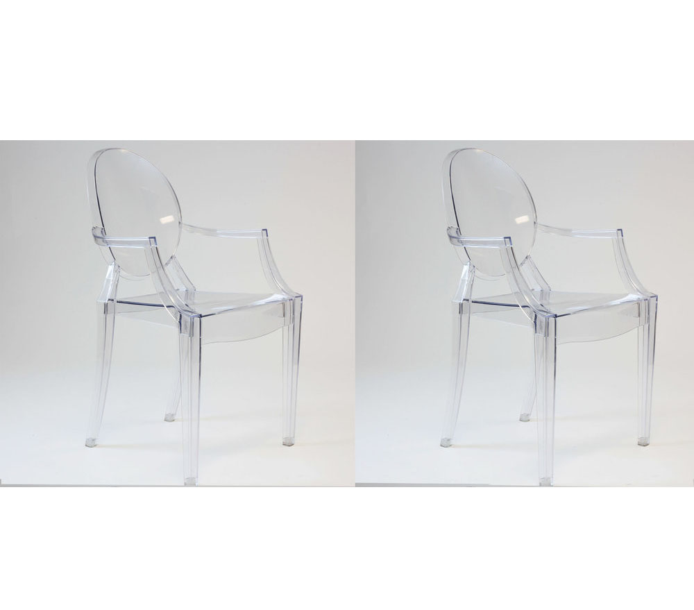 Modern Philippe Starck Kartell Style Ghost Dining Armchair Clear Set of 2 by Krafteriors