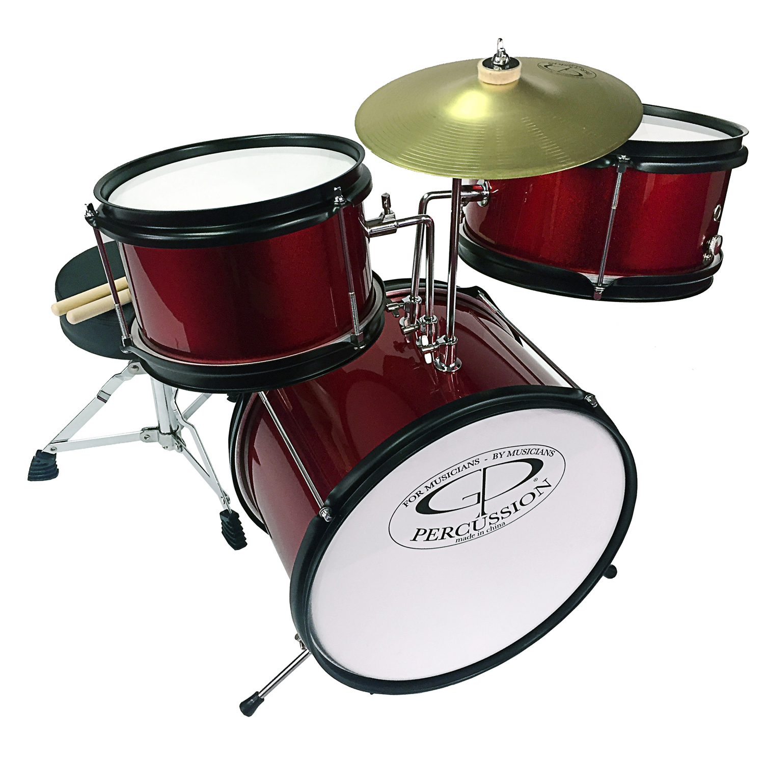 GP Percussion GP40WR 3-Piece Promotional Junior Drum Set in Wine Red