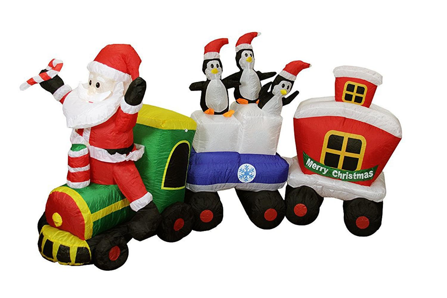82 Inflatable Lighted Santa Express Train Christmas Yard Art Decoration