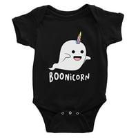Boonicorn Cute Halloween Costume Ghost Unicorn Baby Bodysuit Gift Black